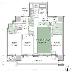 シティタワー札幌 15階3LDKの間取り