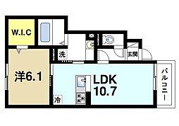 JR片町線(学研都市線) 木津駅 徒歩20分の賃貸アパート 1階1LDKの間取り