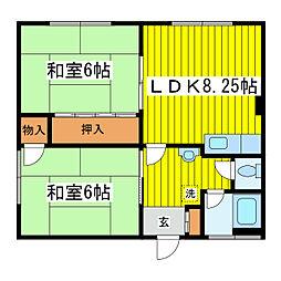 北海道札幌市東区東苗穂一条2丁目の賃貸アパートの間取り