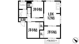 兵庫県宝塚市野上4丁目の賃貸アパートの間取り