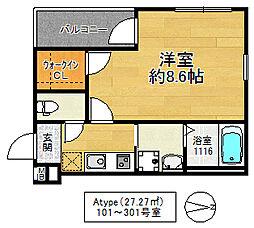 フジパレス鶴見5番館 1階1Kの間取り