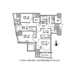 都営大江戸線 汐留駅 徒歩4分の賃貸マンション 12階2SLDKの間取り