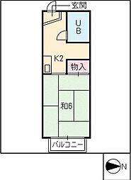 あさひハイツ[1階]の間取り