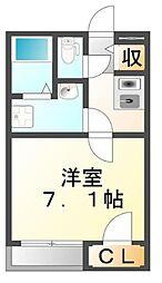 JR山陽本線 福山駅 徒歩33分の賃貸アパート 1階1Kの間取り