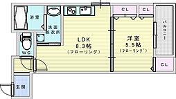 Osaka Metro御堂筋線 江坂駅 徒歩13分の賃貸アパート 2階1LDKの間取り