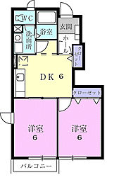 千葉県茂原市東郷の賃貸アパートの間取り