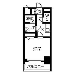 名古屋市営桜通線 中村区役所駅 徒歩9分の賃貸マンション 5階1Kの間取り