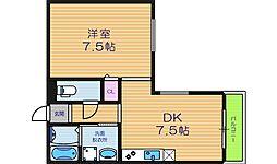 大阪府大阪市東住吉区桑津3丁目の賃貸マンションの間取り