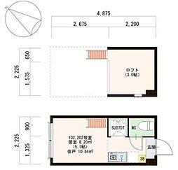 東京都墨田区東駒形2丁目の賃貸アパートの間取り