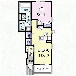 JR久大本線 田主丸駅 徒歩14分の賃貸アパート 1階1LDKの間取り