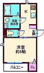 JR横須賀線 西大井駅 徒歩8分の賃貸アパート 1階1Kの間取り