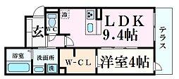 阪急神戸本線 西宮北口駅 徒歩10分の賃貸アパート 1階1LDKの間取り