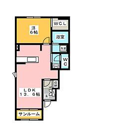 ヴィラ・斎宮B 1階1LDKの間取り