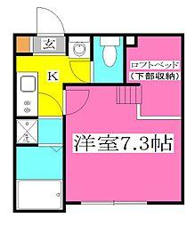 JR武蔵野線 東所沢駅 徒歩9分の賃貸アパート 2階1Kの間取り