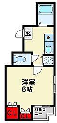 ダイナコートピア黒崎 3階1Kの間取り