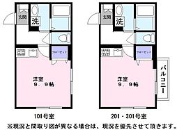 JR東海道・山陽本線 彦根駅 徒歩13分の賃貸マンション 1階ワンルームの間取り