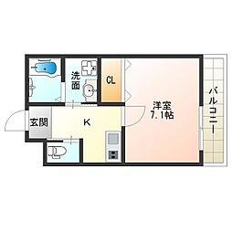 近鉄南大阪線 矢田駅 徒歩7分の賃貸アパート 2階1Kの間取り