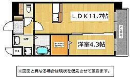 北九州都市モノレール小倉線 徳力公団前駅 徒歩2分の賃貸マンション 7階1LDKの間取り