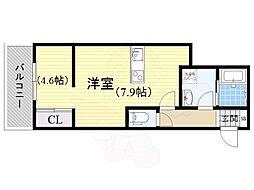 JR東海道・山陽本線 茨木駅 徒歩7分の賃貸アパート 3階1LDKの間取り