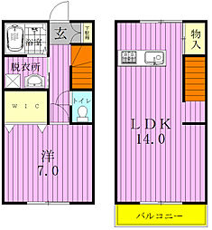 [タウンハウス] 千葉県松戸市五香西3丁目 の賃貸【/】の間取り
