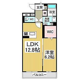 JR篠ノ井線 広丘駅 徒歩21分の賃貸マンション 2階1LDKの間取り