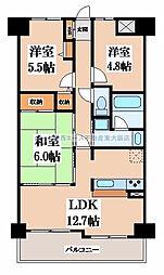 朝日プラザウィンディコート枚岡[8階]の間取り