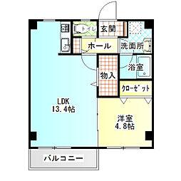 アミティII 3階1LDKの間取り