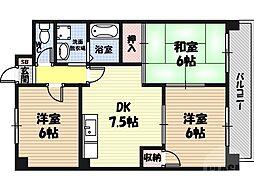 鶴見緑地ハイツ弐番館 7階3DKの間取り