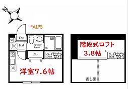 ハーミットクラブハウス西横浜V 2階ワンルームの間取り