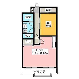 ハイデンスホンダ[2階]の間取り