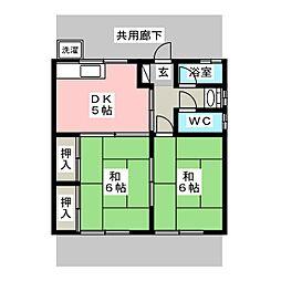 コーポ都築[1階]の間取り