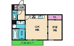 (仮称)生野区桃谷D-room 1階1LDKの間取り