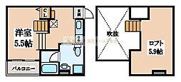 大阪府堺市堺区遠里小野町1丁の賃貸アパートの間取り