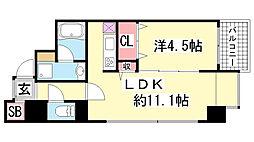 兵庫県神戸市中央区中山手通2丁目の賃貸マンションの間取り