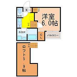 愛知県名古屋市西区江向町2丁目の賃貸アパートの間取り