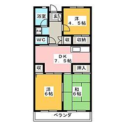 近畿マンション[7階]の間取り