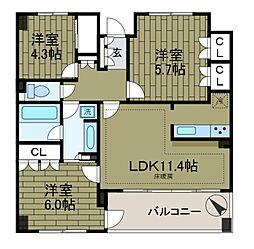 KDXレジデンス町田[9階]の間取り