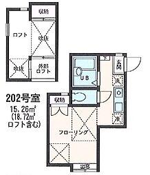 フルハウス江戸町 2階ワンルームの間取り