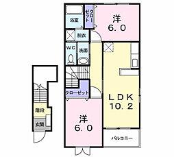 エヴァーグリーン K[2階]の間取り