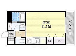 阪急千里線 千里山駅 徒歩17分の賃貸マンション 2階ワンルームの間取り