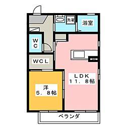 サニーガーデン神村 2階1LDKの間取り
