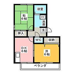 ディアコートLOVE B棟[2階]の間取り