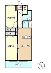 JR常磐線 牛久駅 徒歩9分の賃貸マンション 1階2LDKの間取り