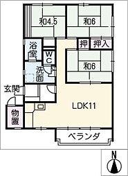 有松グリーンハイツ17号棟12号室[1階]の間取り