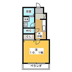 チェリーハウスIII 1階1Kの間取り