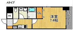 フォンテーヌ加賀屋 6階1Kの間取り