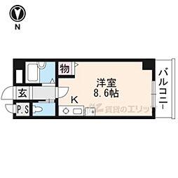 阪急京都本線 京都河原町駅 徒歩6分の賃貸アパート 3階ワンルームの間取り