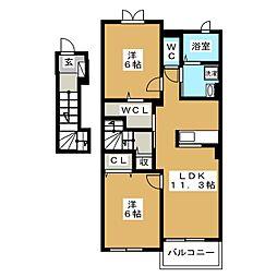静岡県富士宮市山本の賃貸アパートの間取り