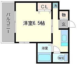 グランメール東淀川 2階1Kの間取り