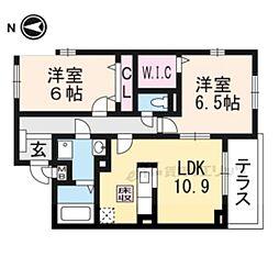 JR東海道・山陽本線 長岡京駅 バス22分 菱川町下車 徒歩7分の賃貸アパート 1階2LDKの間取り